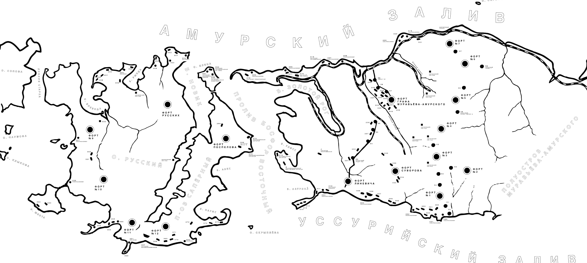 Объекты Владивостокской крепости на карте