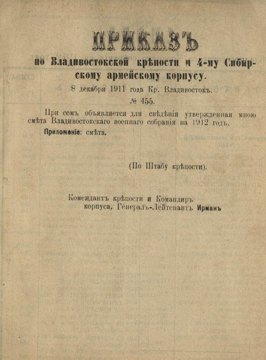 Приказ по Владивостокской крепости и 4-му Сибирскому армейскому корпусу № 455