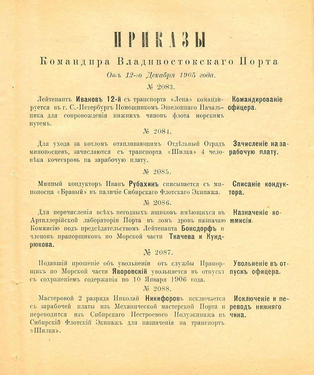 От 12-го Декабря 1905 года
