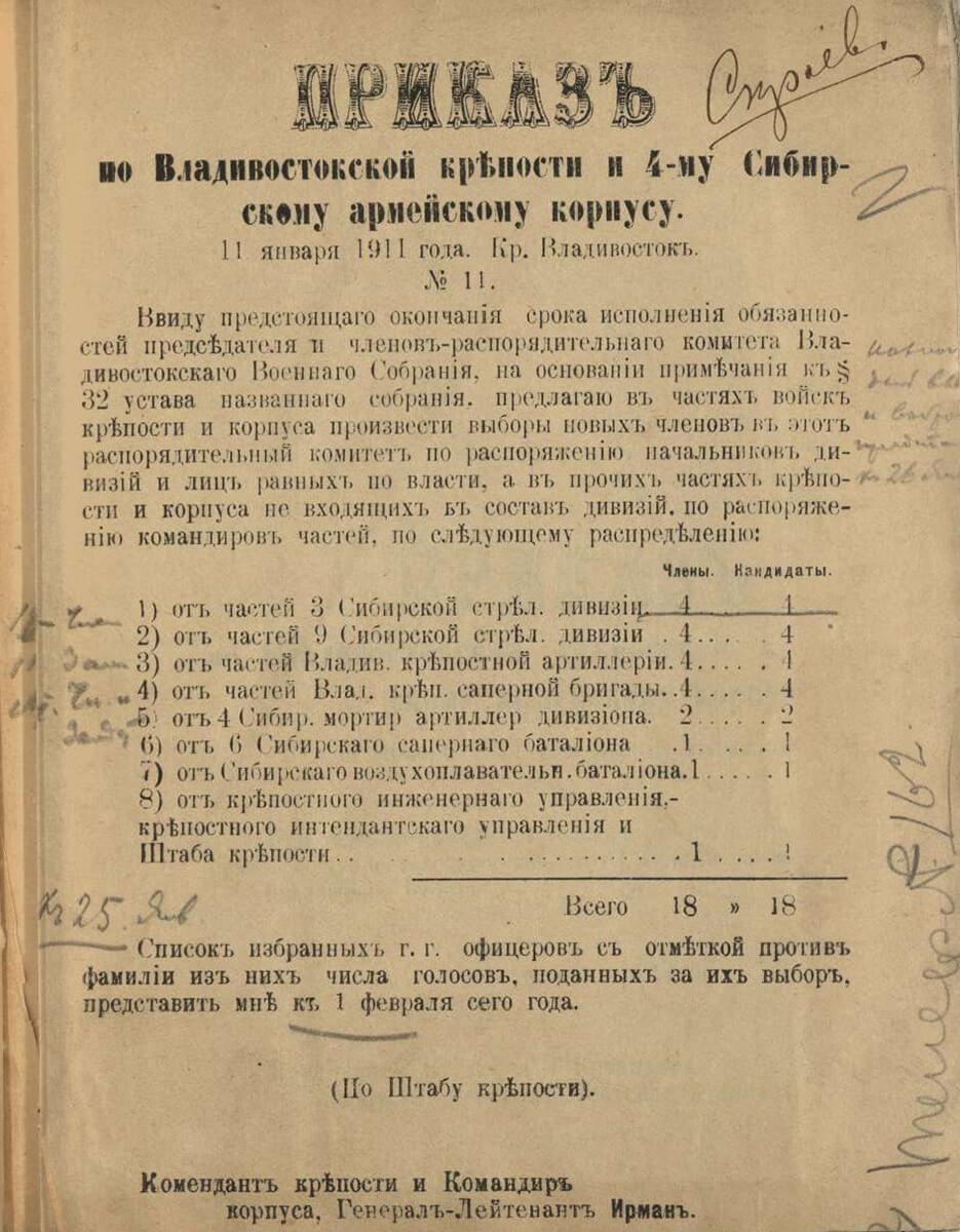 Приказ по Владивостокской крепости и 4-му Сибирскому армейскому корпусу № 11