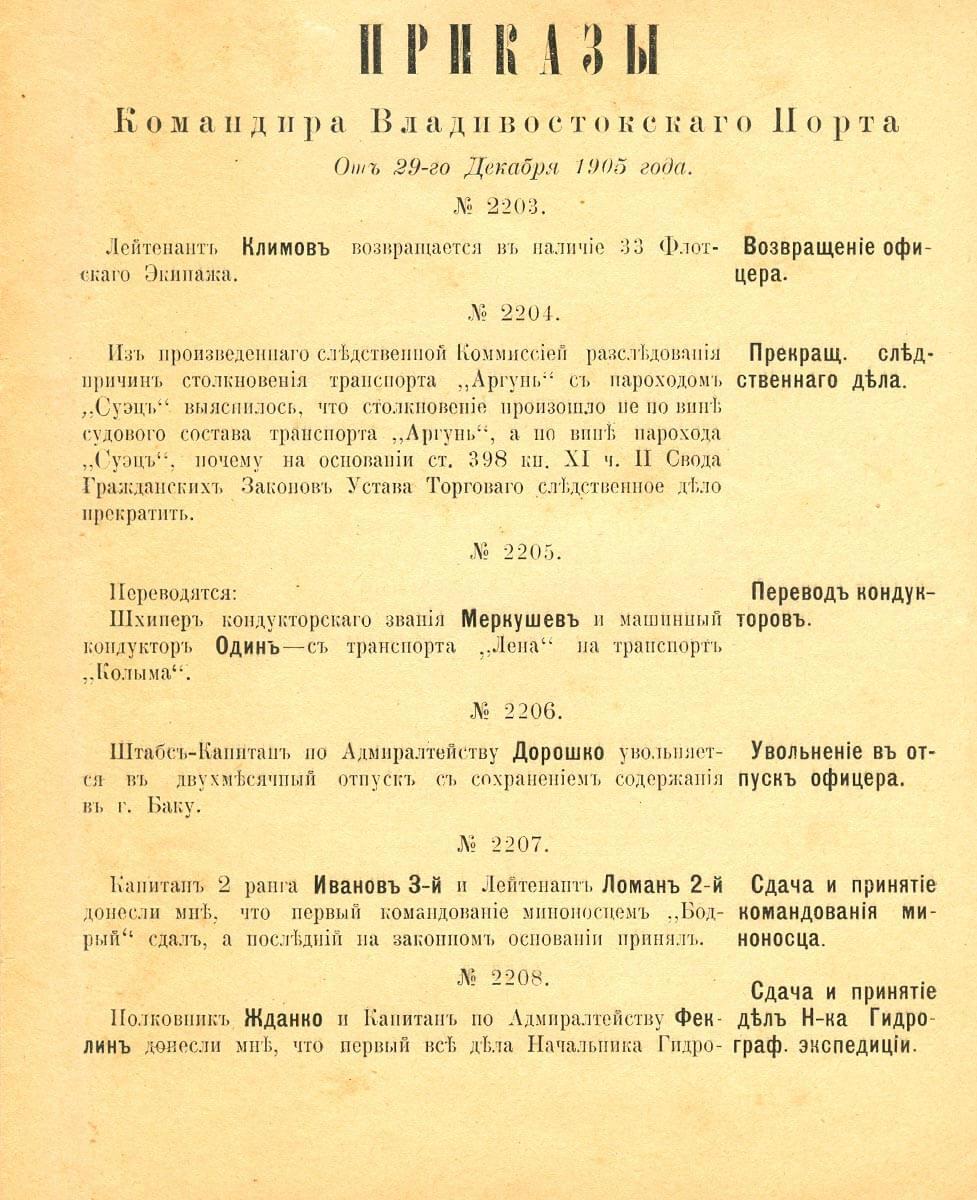 От 29-го декабря 1905 года
