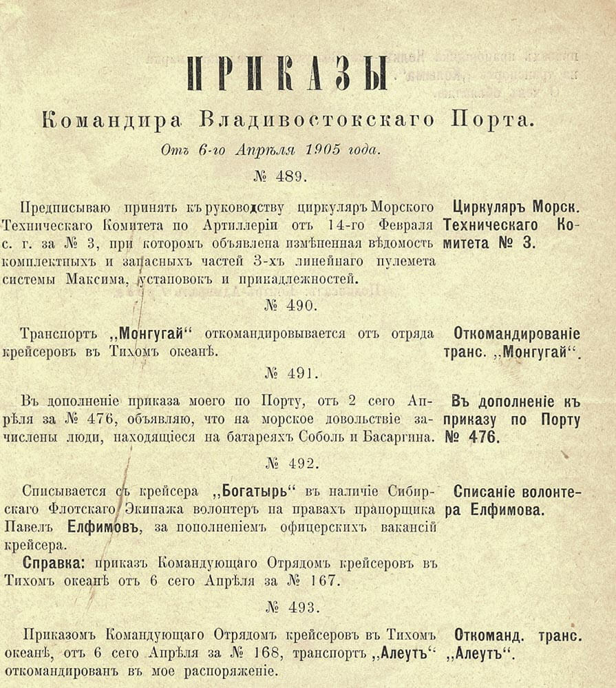 От 6-го Апреля 1905 года.