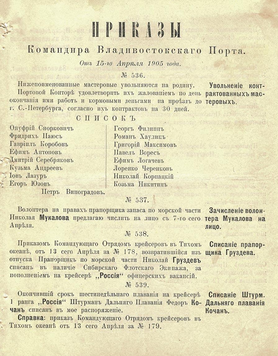От 15-го Апреля 1905 года.